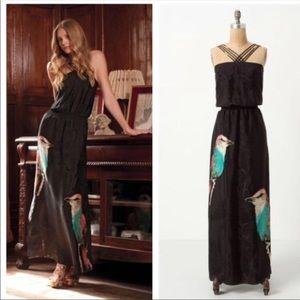 Anthropologie Leifsdottir corvida black silk dress